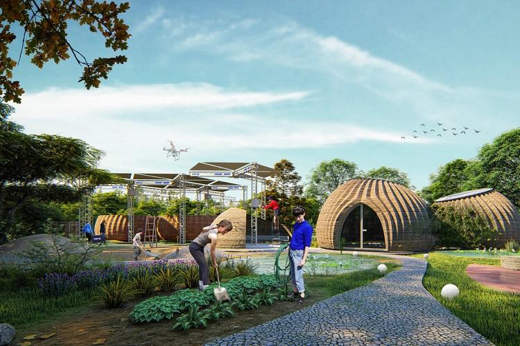 Il render di Tecla, progetto di Mario Cucinella Architects e Wasp