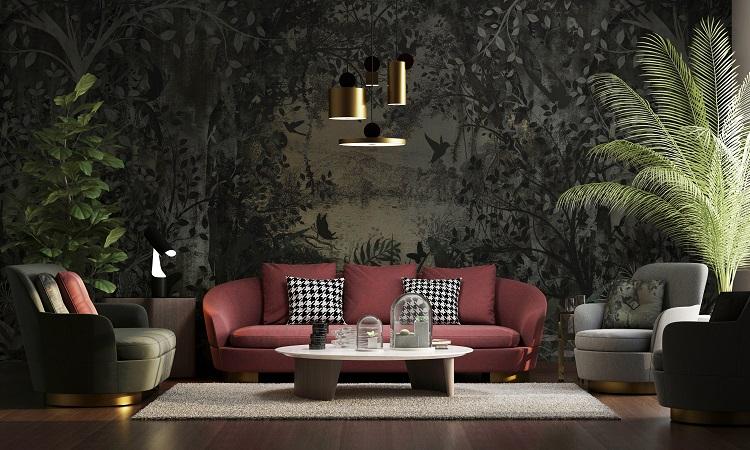 Un soggiorno arredato con toni caldi e evidenti richiami alla natura
