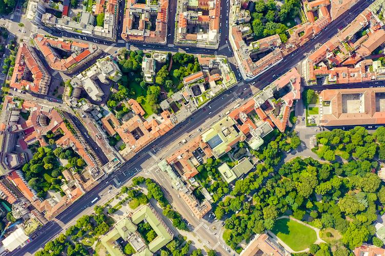 I quartieri di Milano dall'alto